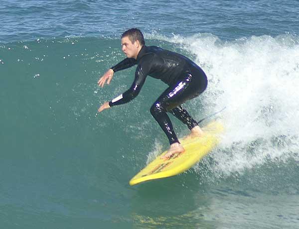 Surfing Lessons Perth Matt on a B Softboard