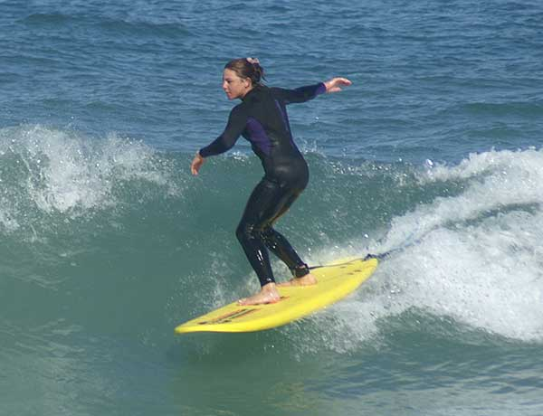 Surfing Lessons Perth Sofie on a B Soft board