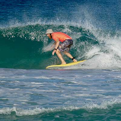 Kieran having surfing lessons in Perth, Scarborough Beach